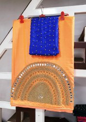 Own Sequence & Real Mirror Heavy Handwork Saree, Size: Free