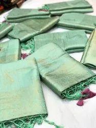 Somnath Creation 5.2 m Stylish Banarasi Silk Saree, With Blouse Piece