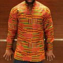 Long Sleeve Kente African Print Dashiki Shirt Top Kurta