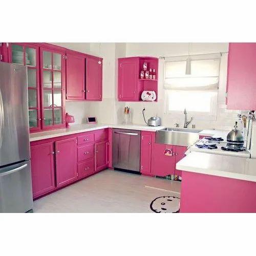 U Shape Wooden Pink Modular Kitchen Rs 850 Square Feet Purport Furniture Mall Id 17147584173