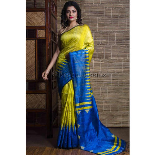 6e0c599438 Tussar Silk Saree with Temple Border in Green at Rs 8700 /piece ...