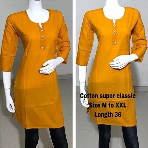 Casual Wear Straight Super Classic Plain Cotton Kurti, Age Group: 18-40