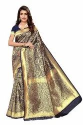 Blue Colored Banarasi Silk Saree with Blouse Piece