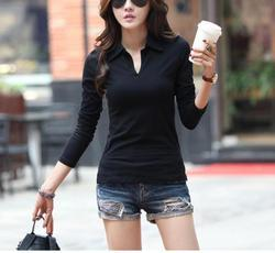 Dolphin Divine Causal Wear Women Full Sleeve Plain Black T- Shirts