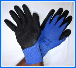 Blue Nylon Shell With Black Crinkle Latex Palm Coated Gloves