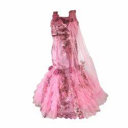 Pink Embroidered Net, Tulle and Satin. Girls Lehenga Choli