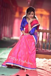 TITLYS Stitched Pink Blue Embroidered Lehenga