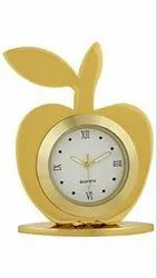 Good Looking Apple Shape Analog Clock,Office Table Clock,  (Golden Color)