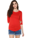 Casual Wear 3/4th Sleeve Red Plain T-shirt