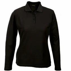Casual Wear Polo Ladies Full Sleeve Collar T Shirt