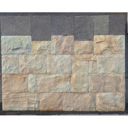 Gokak Stone Wall Cladding In Solid Stone Yellow Color With Ashlar Pattern & Rockface Finish