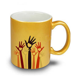 Yellow And White Ceramic Mug, For Office