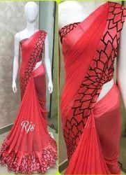 Ladies Red Satin Patta Saree