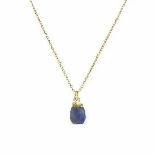 Sapphire Raw Birthstone Pendant Necklace