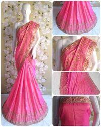 Paper Silk Designer Pallu Embroidered Work Blue Color Saree