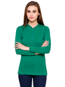 Full Sleeve Pintapple Womens Cotton Henley Green Top