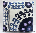 Suzani Embroidered Hand Printed Cushion Cover