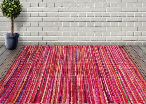AJS LIVING Red Multicolor Rectangle Jute and Cotton Multi Chindi Braid Rug Carpet