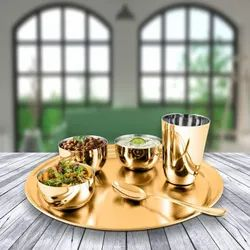 6 Brass Meal Thali, Packaging Type: Box, Round