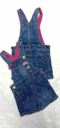 Stretchable Printed Denim Casual Wear Kids Girls Dungri, Small