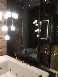 Shiny Brown Italian Marble Flooring Service