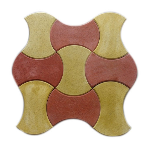 Red And Yellow Concrete Round Dumbbell Shaped Tile, Size: 200x200 mm
