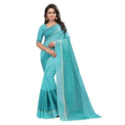 Printed Formal Wear Anmazing Factory Blue Cotton Fancy Saree, 6 m (with blouse piece)