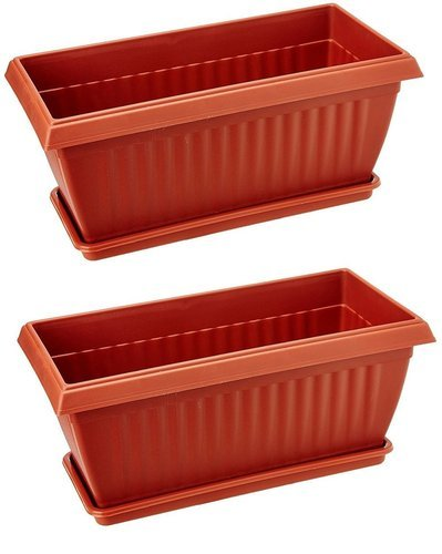 Brown Rectangular Rectangle Planters And Trays Plastic Pots Pack