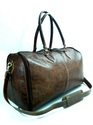 Vintage Leather Duffel Travel Bag