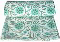 Green Hand Block Printed Cotton Floral Printed Fabric Indian Printed, Gsm: 50-100, For Garments
