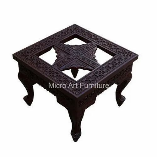Square Carved Wooden Center Table