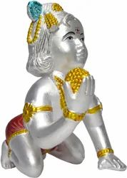 Painted Hindu Silver Laddu Gopal Statues in 999 silver for Home, Size: 3