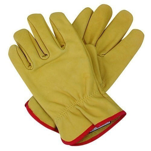 Yellow And Red Cotton Safety Gloves
