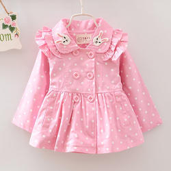 Full Sleeves Polka Dot Print Pink Coat