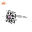 Vintage Design Oxidized 925 Silver Natural Amethyst Gemstone Rings