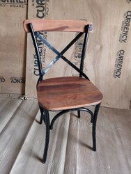 Cafe Iron and Wooden Modern X Chair
