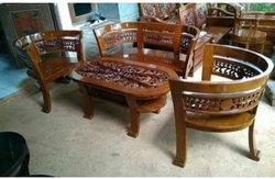 Antique Designer Wooden Sofa Set, For Home, Living Room