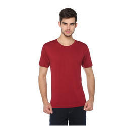 Mens Solid Red Wine Half Sleeves T-Shirt