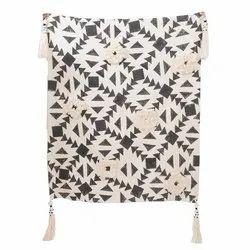 Slub Yarn Cotton Plain Dyed, Printed Embroidered Bed Sofa Throws
