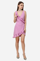 Crepe Pink Plain Designer Frill Short Dress
