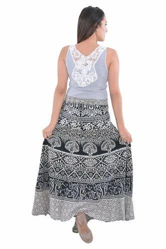 dc9ebaae07 Black Elephant Print Women Cotton Rapron Skirt, Rs 220 /piece | ID ...