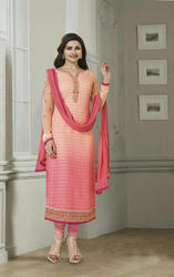 Peach Embroidered Chiffon Straight Suit