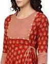 Yash Gallery Women's Cotton Slub Floral Printed Angrakha Kurta