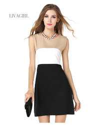 Tri-color Splicing Sleeveless Dress
