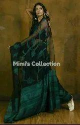 MIMI'S COLLECTION Party Wear Matka-Moslin Half & Half Jamdani Hand Weaving Saree, 6.3 m (with blouse piece)