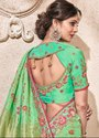 Mint Green Viscose Saree with Banarasi Blouse