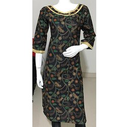 Casual Wear Gold Printed Kurti