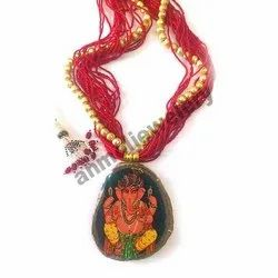 Red Beaded Necklace with Ganpati Pendant