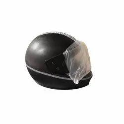 Black Plastic Full Face Motorcycle Helmet, Size: Regular