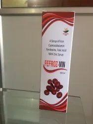 Fefroz-VIN Iron Cyanocobalamin Pyridoxine, Folic Acid with Zinc Syrup